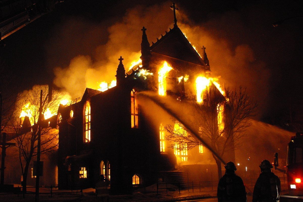 image of a burning church
