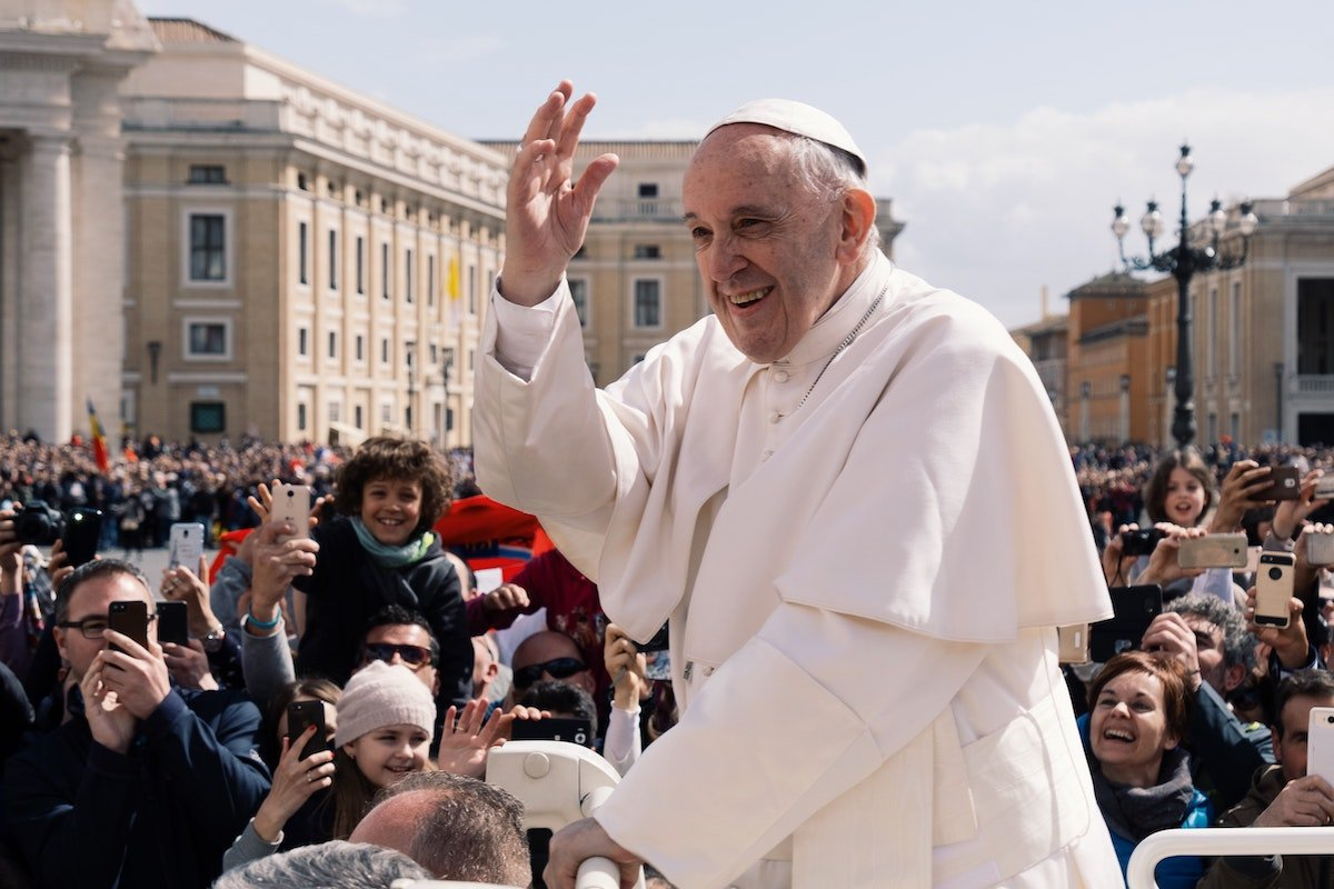 Pope Francis greets the crowd