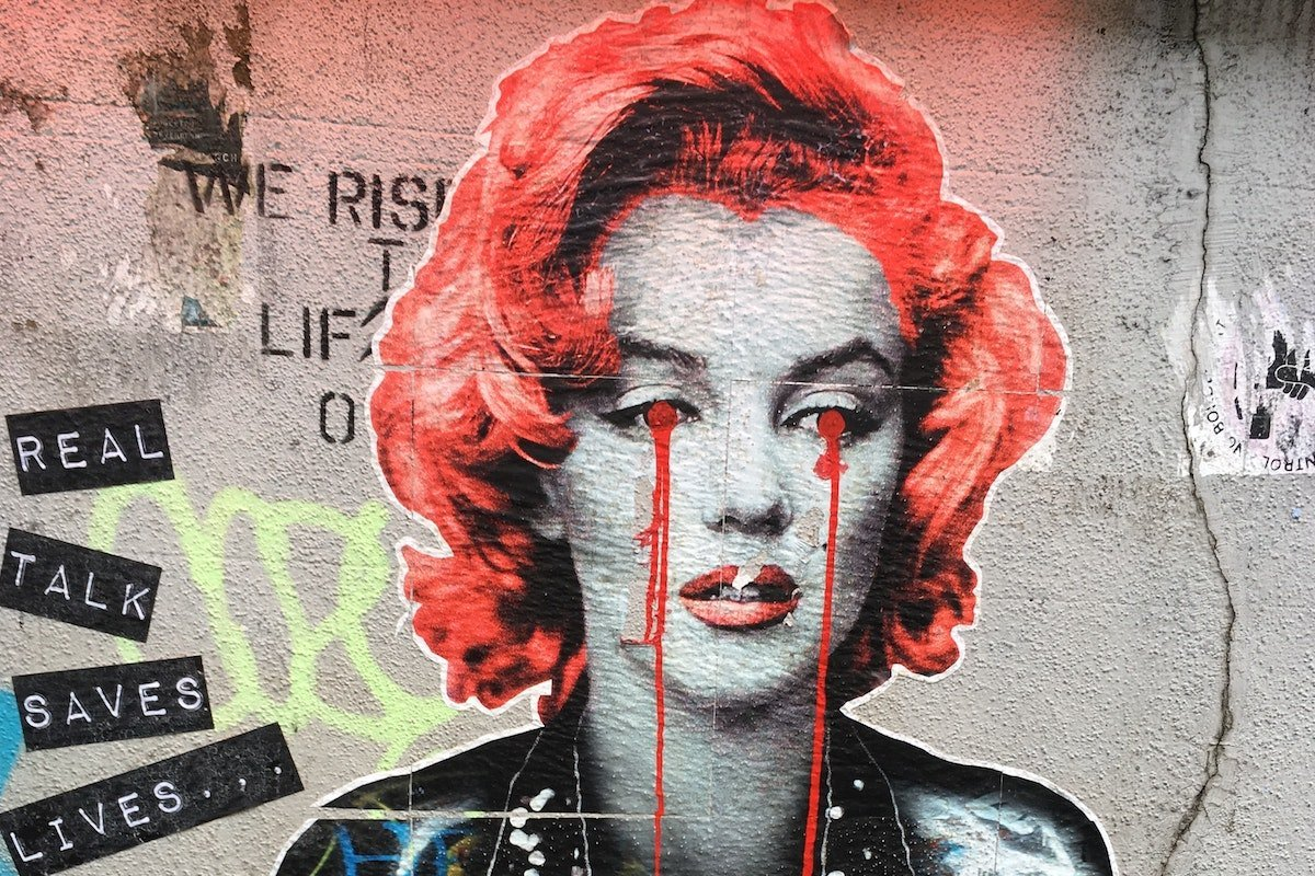 crying Marilyn Monroe graffiti