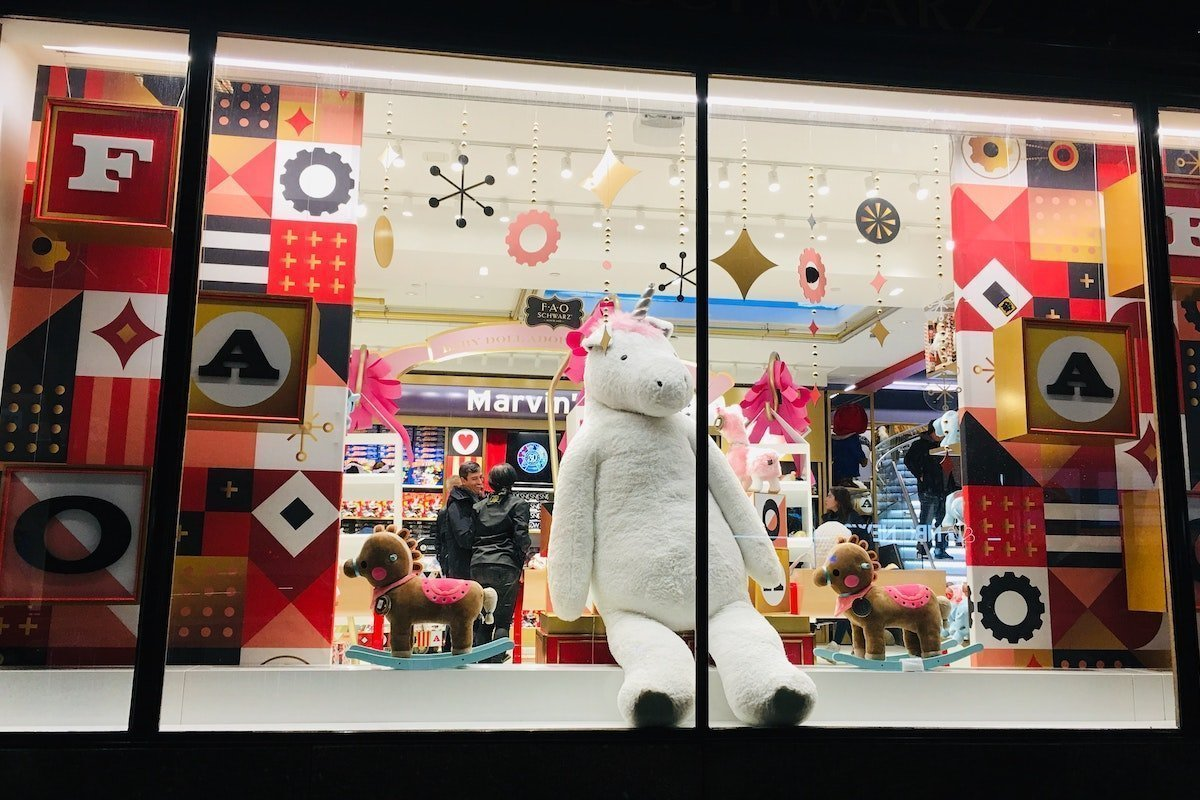 christmas display in a store window