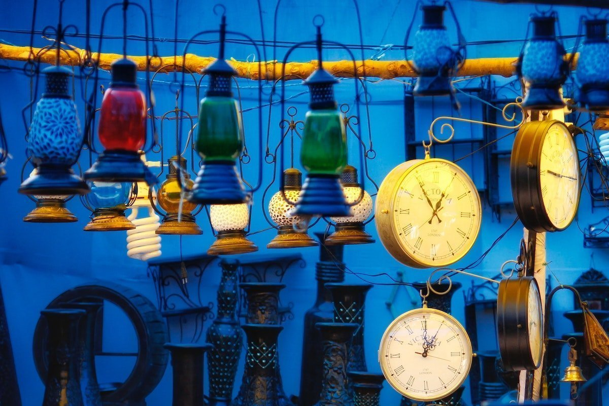 hanging lanterns and clocks remind us how to make peace with the past