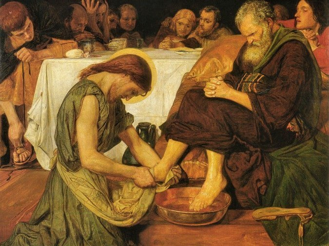 Jesus washing Peter's feet because that's what servant leaders do
