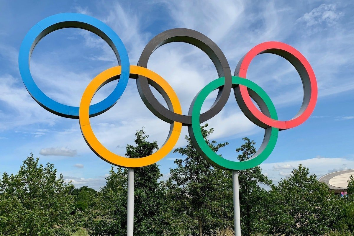 Olympic Rings against a blue sky backdrop